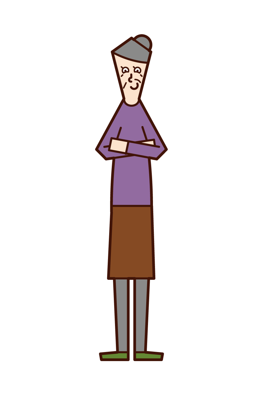 Illustration of an old man (woman) looking down