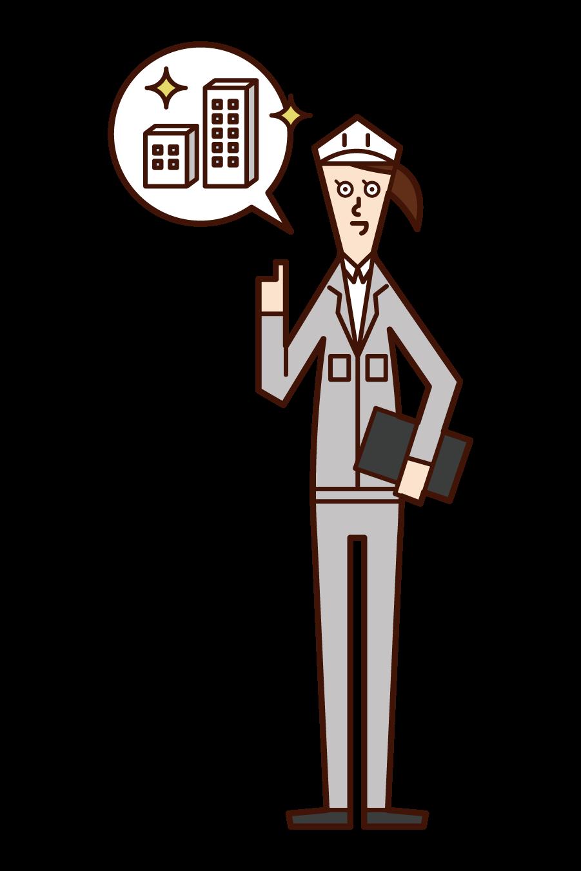 建築物環境衛生管理技術者・ビル管理技術者(女性)のイラスト