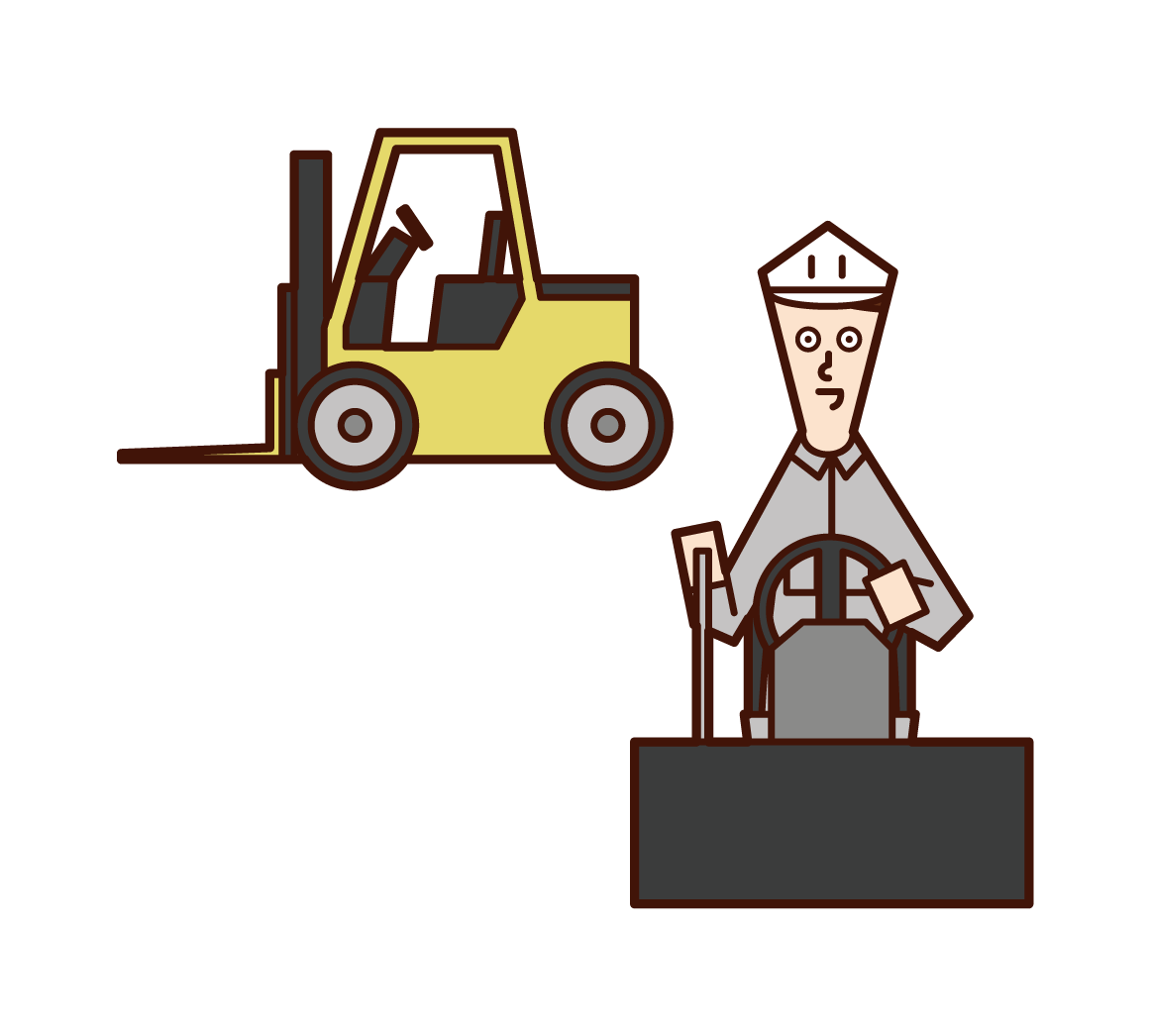 Illustration of forklift driver (man)
