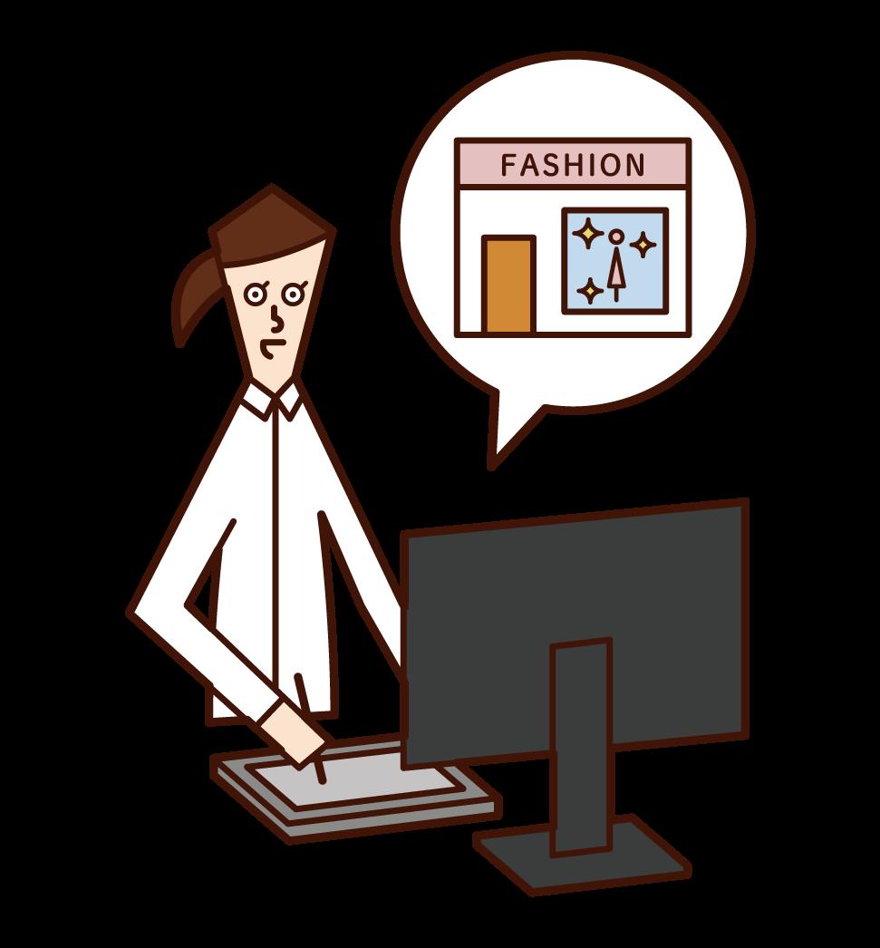 Illustration by display designer (man)