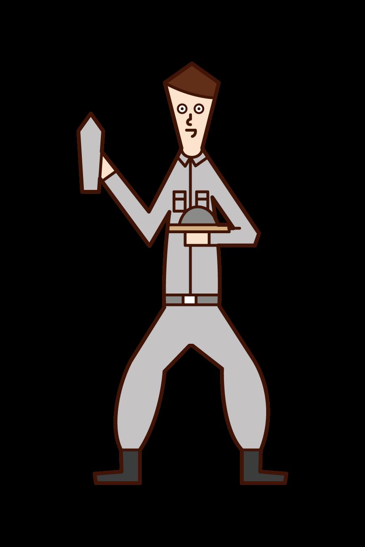 左官職人・外壁工事をする人(男性)のイラスト