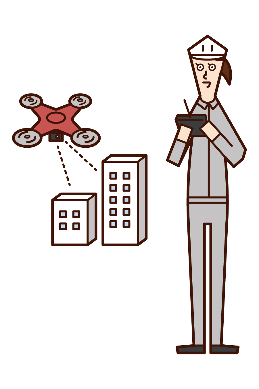 Illustration of a woman inspecting a building and inspecting an exterior wall by a drone
