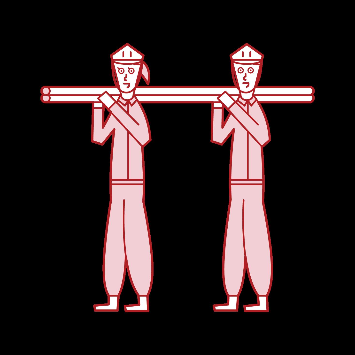 足場職人(女性)のイラスト
