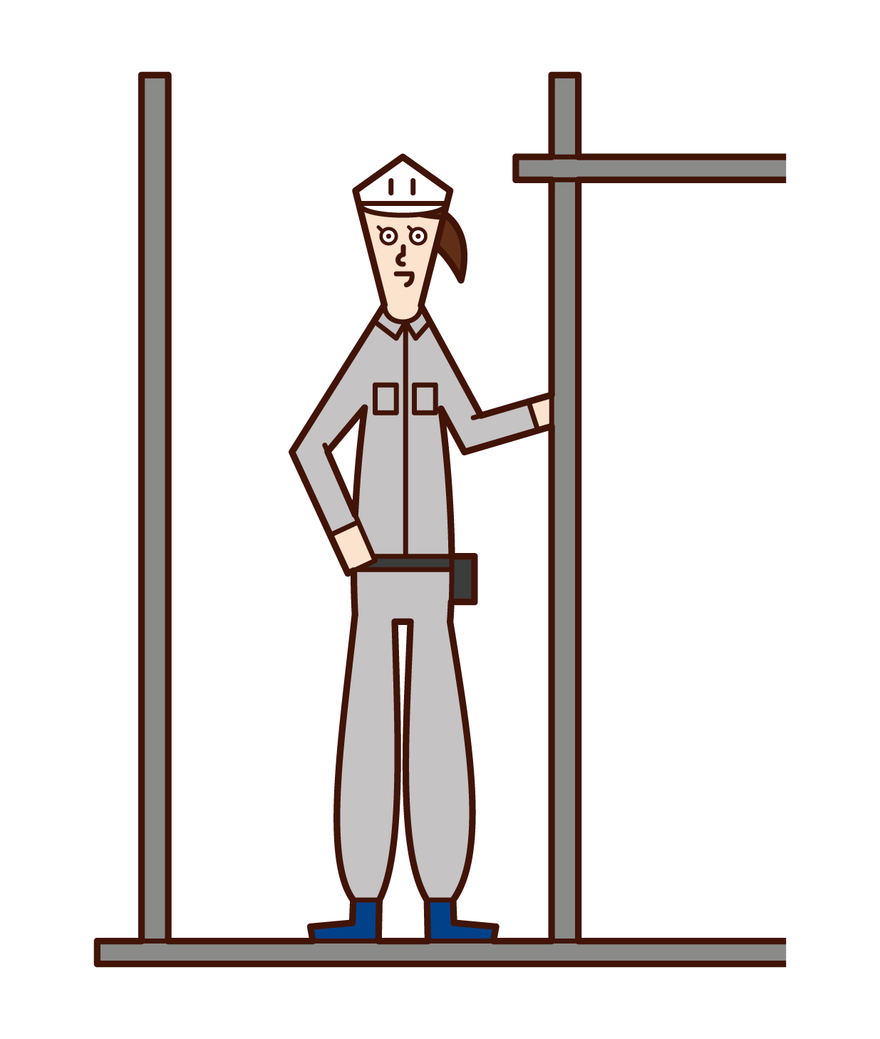 Illustration of scaffolding craftsman (woman)