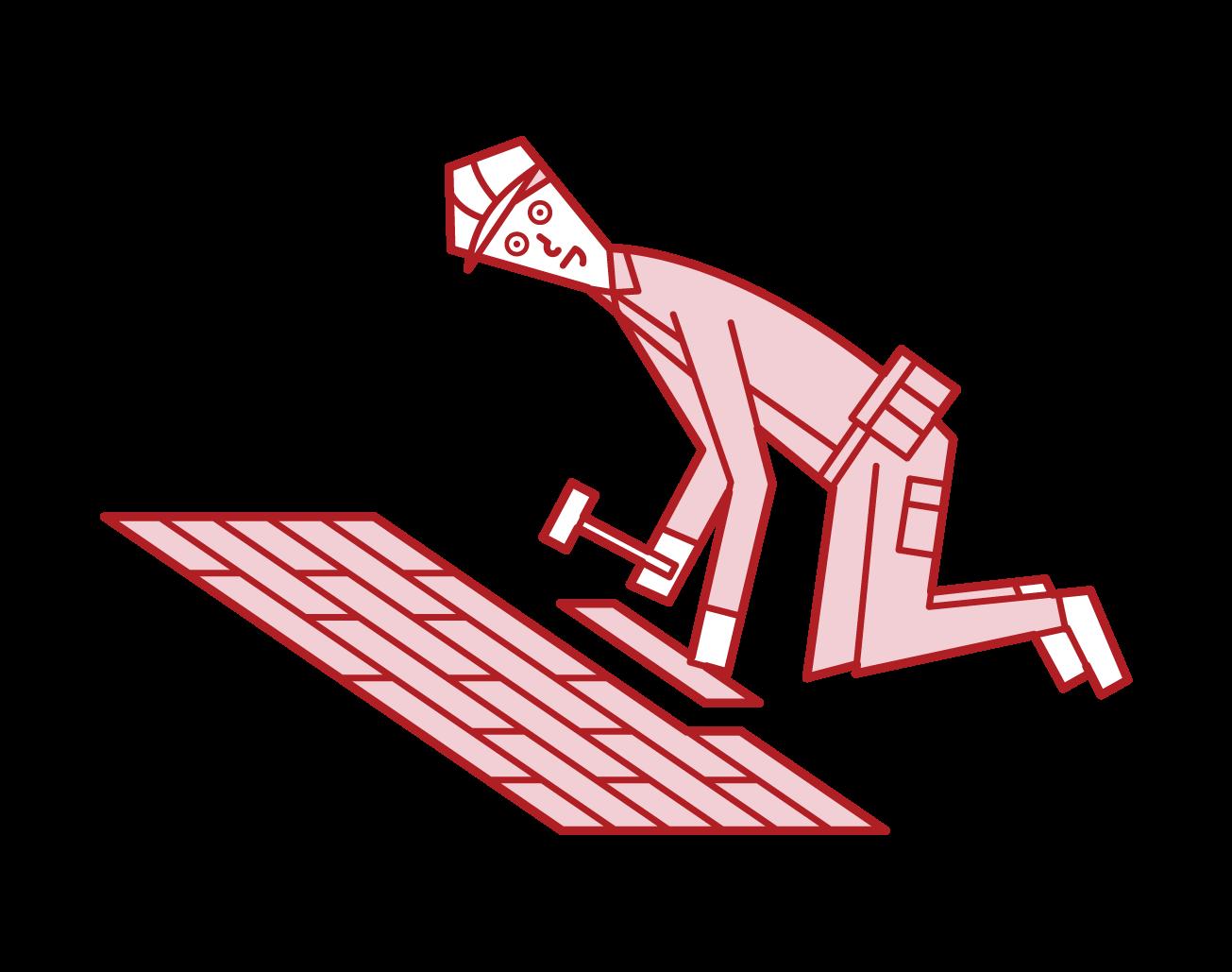 フローリングを貼る人・内装工事をする人(男性)のイラスト
