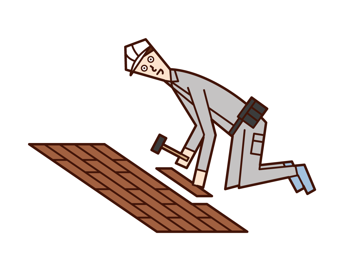 Illustration of a person who pastes flooring and a person (man) who works on interior construction