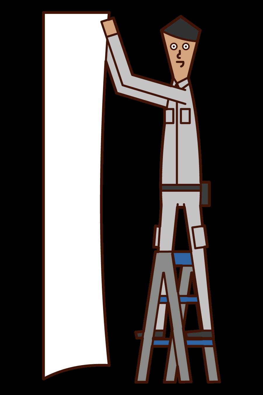 壁紙を貼る人・内装工事をする人(男性)のイラスト