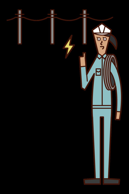電気工事士(女性)のイラスト