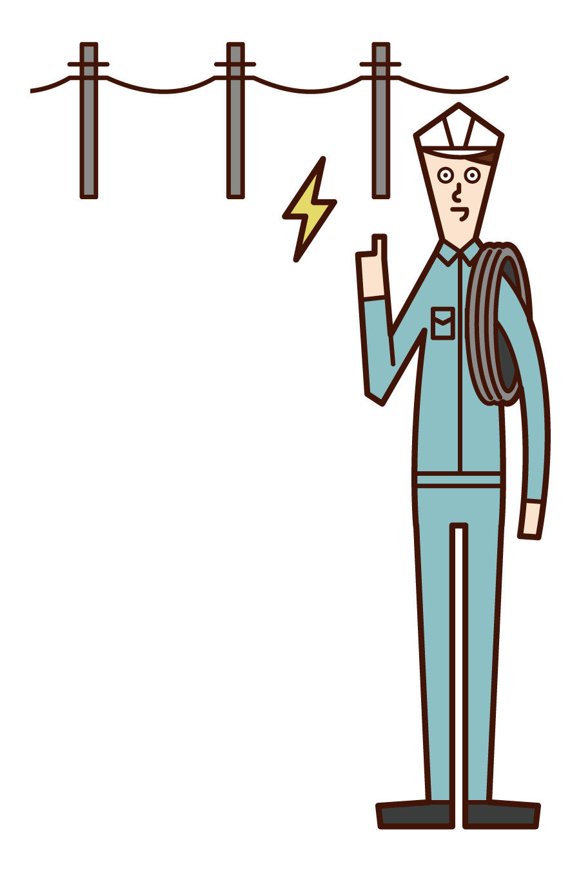 電気工事士(男性)のイラスト