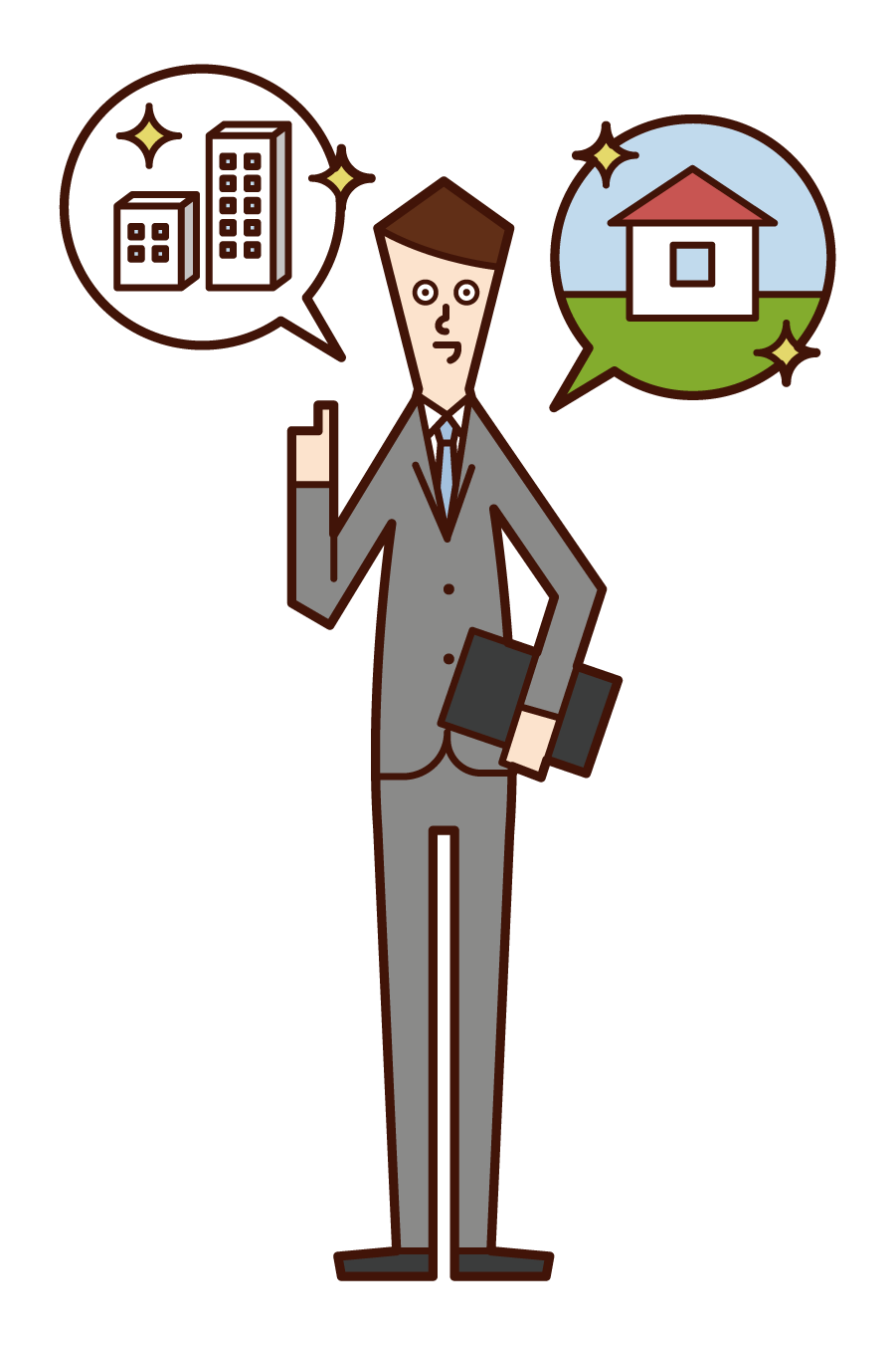 Illustration of a person (man) who is a building sales and real estate business