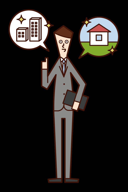 건설 및 부동산 판매에 종사하는 사람 (남성)의 그림