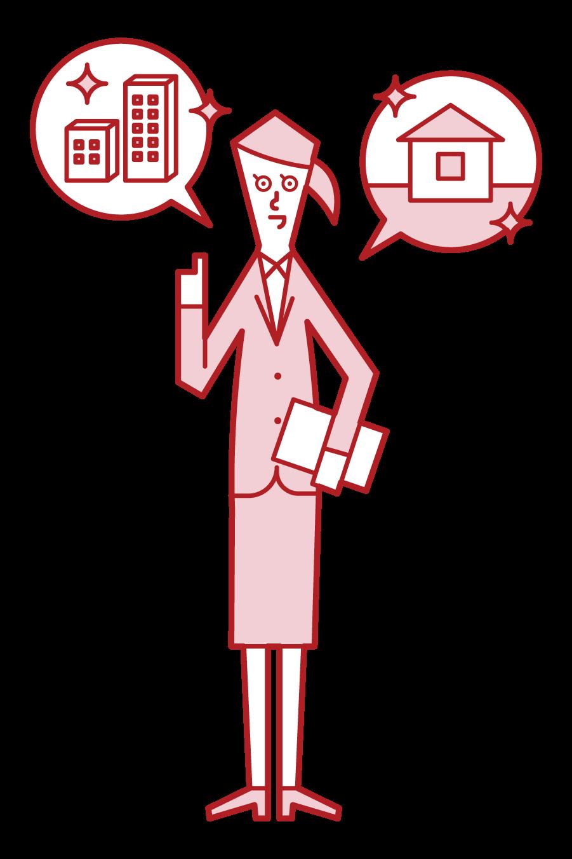 建築営業・不動産営業をする人(女性)のイラスト