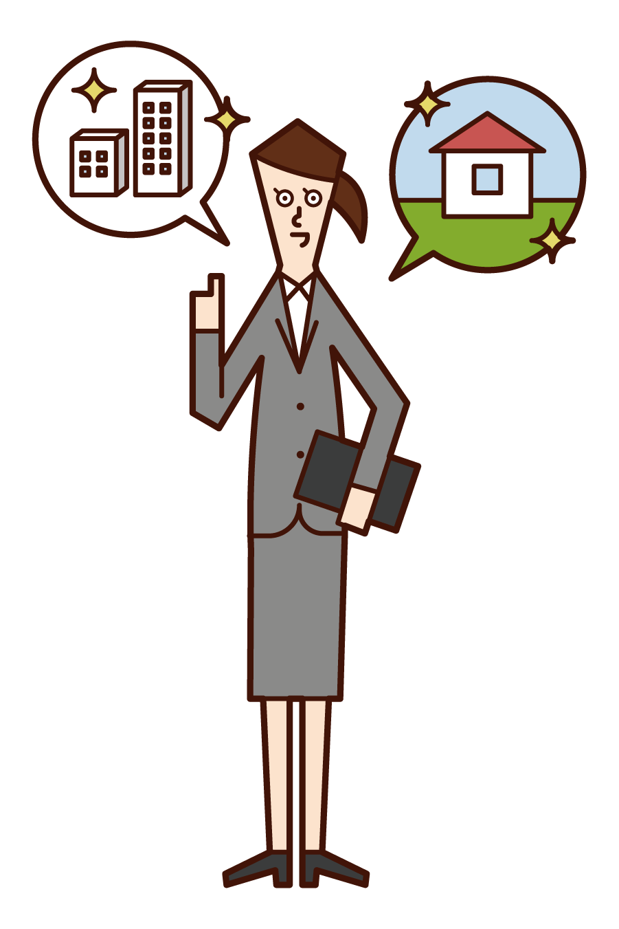 Illustration of a person (woman) who is a construction sales and real estate sales