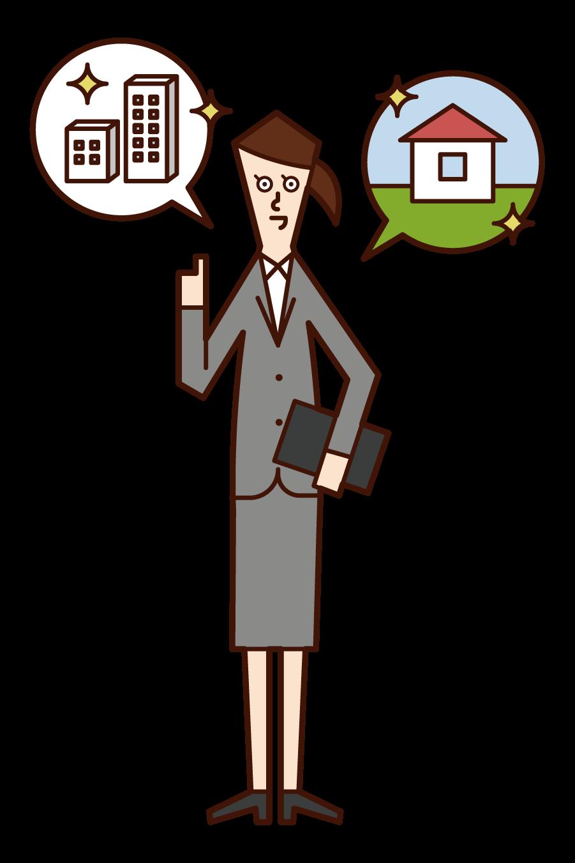 건설 및 부동산 판매에 종사하는 사람 (여성)의 그림
