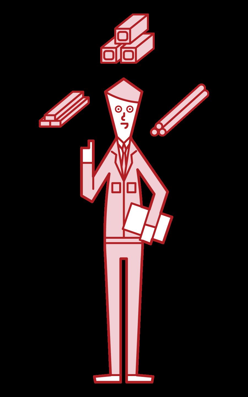 建築資材・素材メーカー(男性)のイラスト