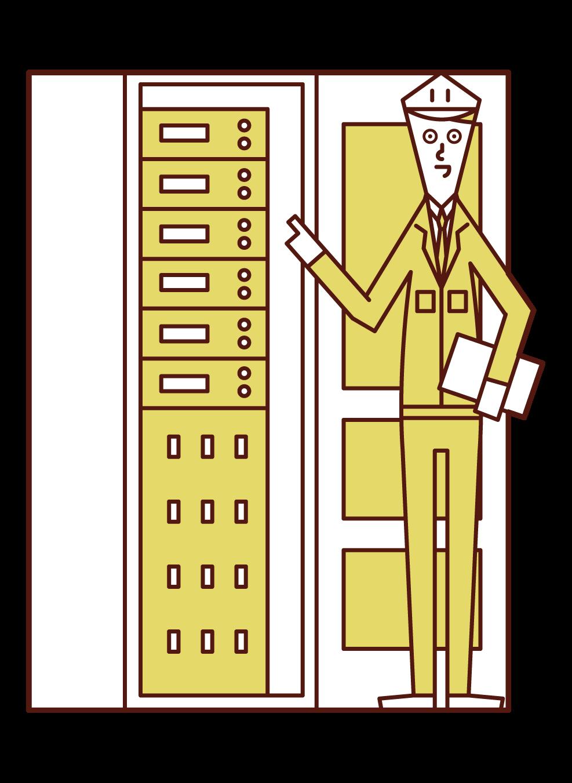 設備保守・点検をする人(男性)のイラスト