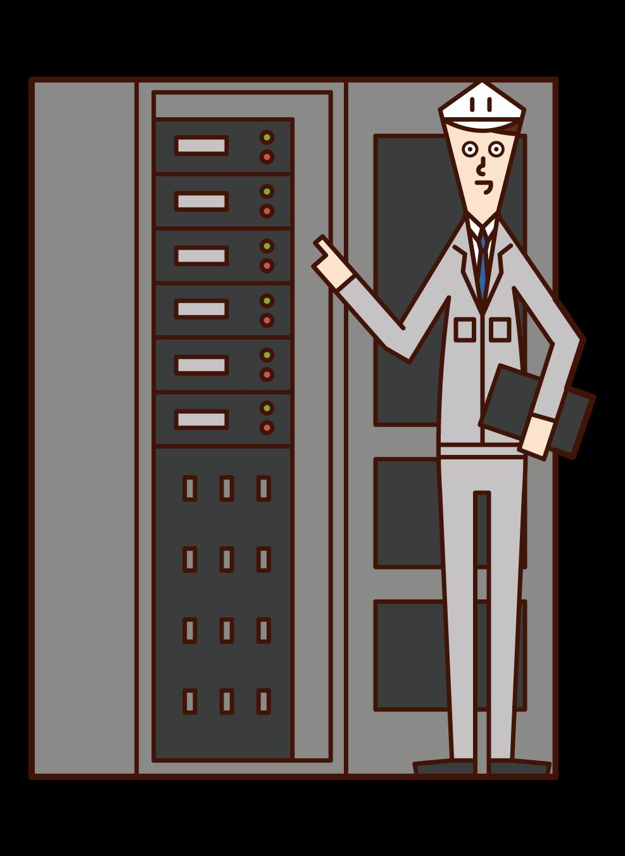 장비 유지 보수 및 검사 직원 (남성)의 그림