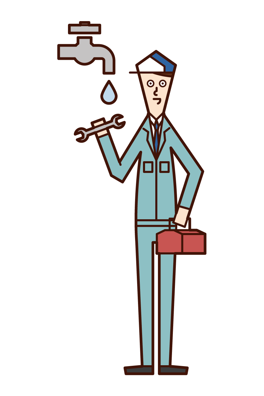 水道工事をする人(男性)のイラスト