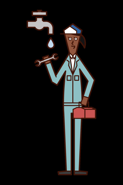 水道工事をする人(女性)のイラスト