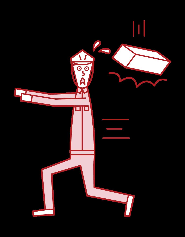 落下物注意(男性)のイラスト