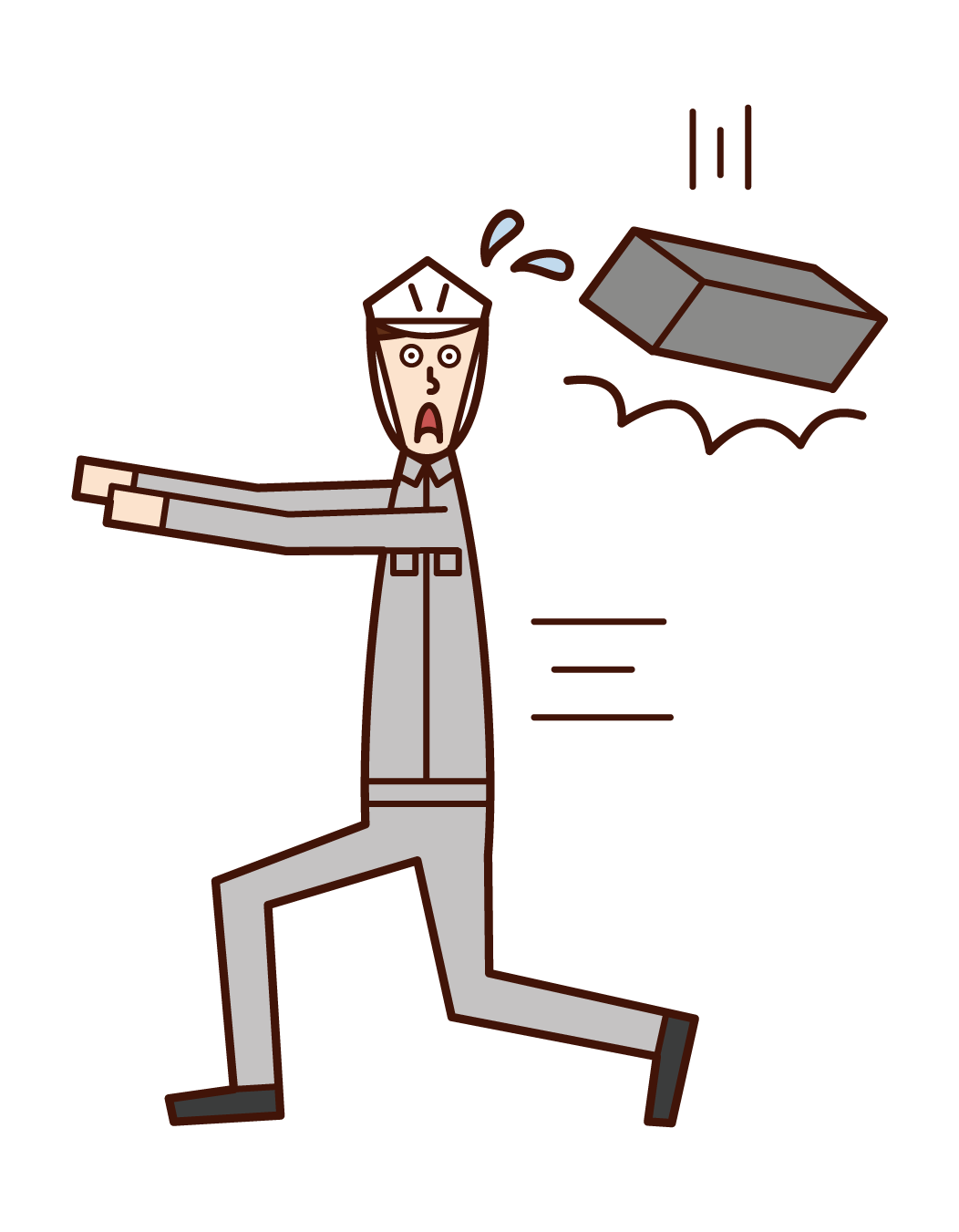 Illustration of falling object caution (man)