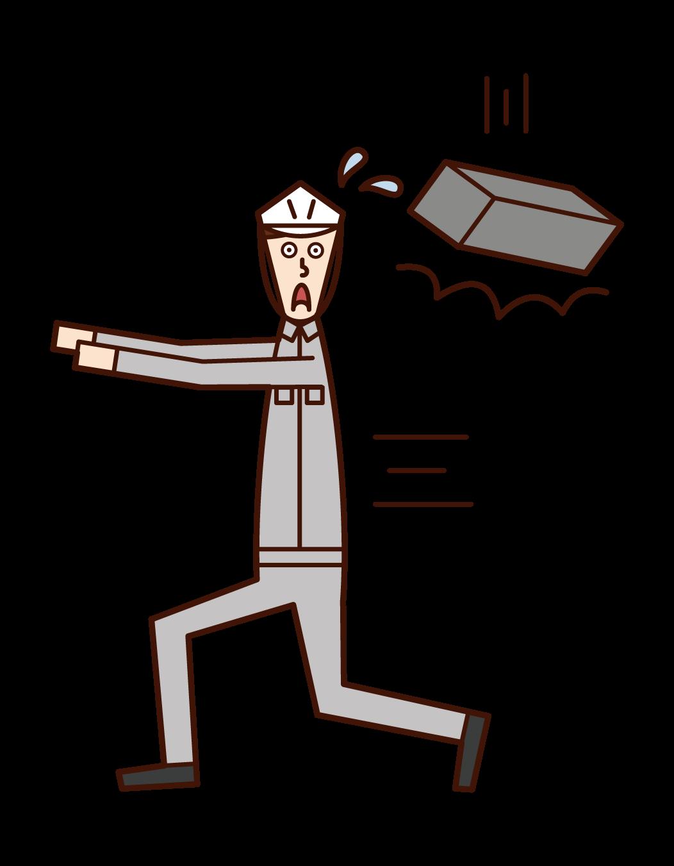 떨어지는 물체의 주의 (남성)의 그림