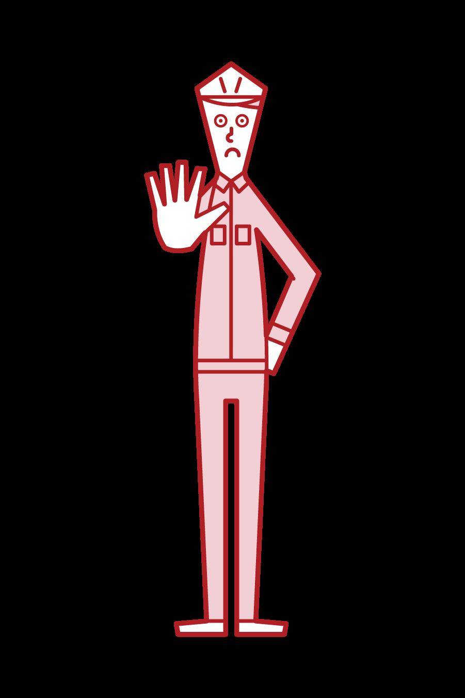 立ち入り禁止(男性)のイラスト