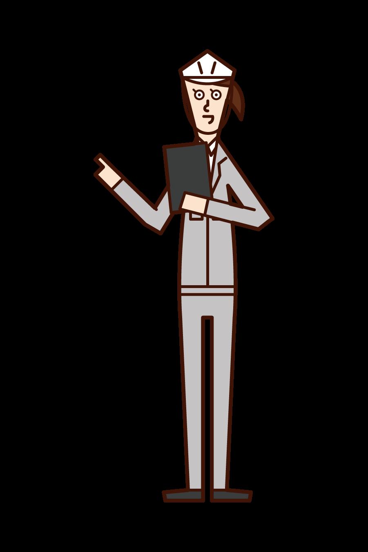安全確認・点呼をする人(女性)のイラスト