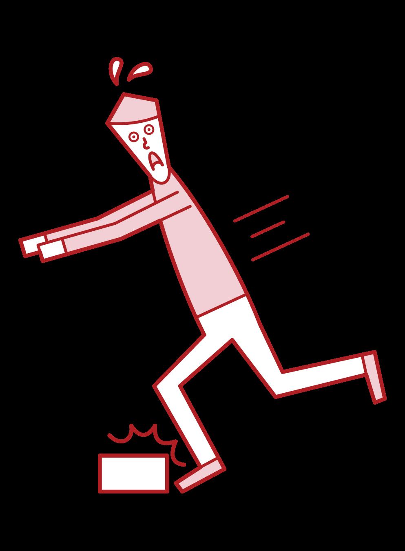 足元注意(男性)のイラスト