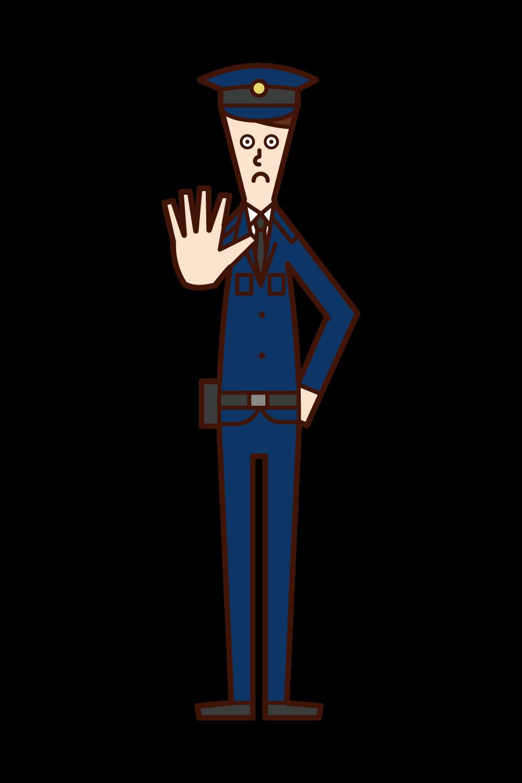 立ち入り禁止を命じる警察官(男性)のイラスト