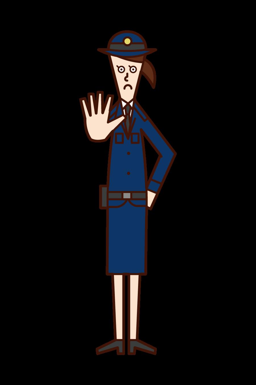 立ち入り禁止を命じる警察官(女性)のイラスト