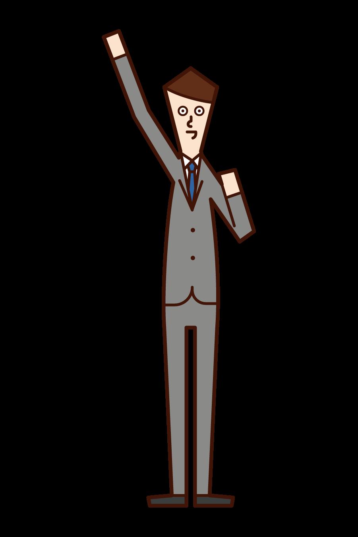 拳を高く上げる人・エイエイオー(男性)のイラスト