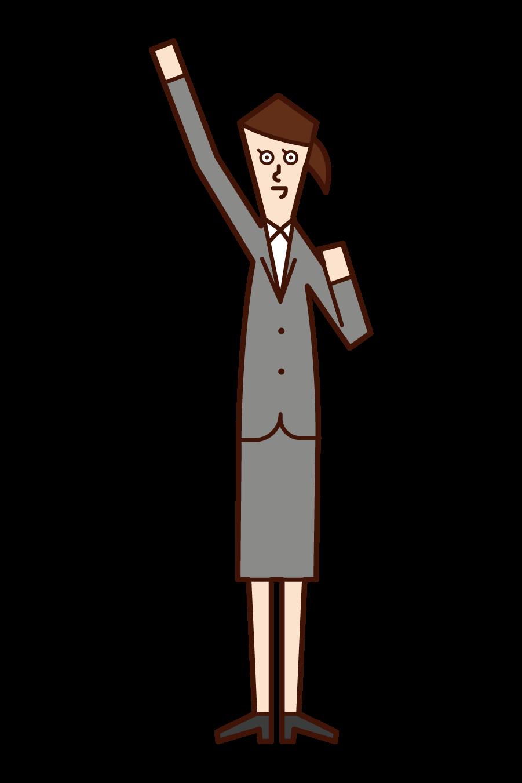 Illustration of A.E.O. (female) who raises his fist high