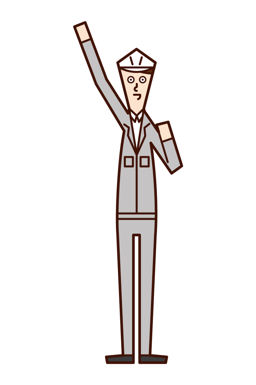 Illustration of Aei-oh (man), a field supervisor who raises his fist high