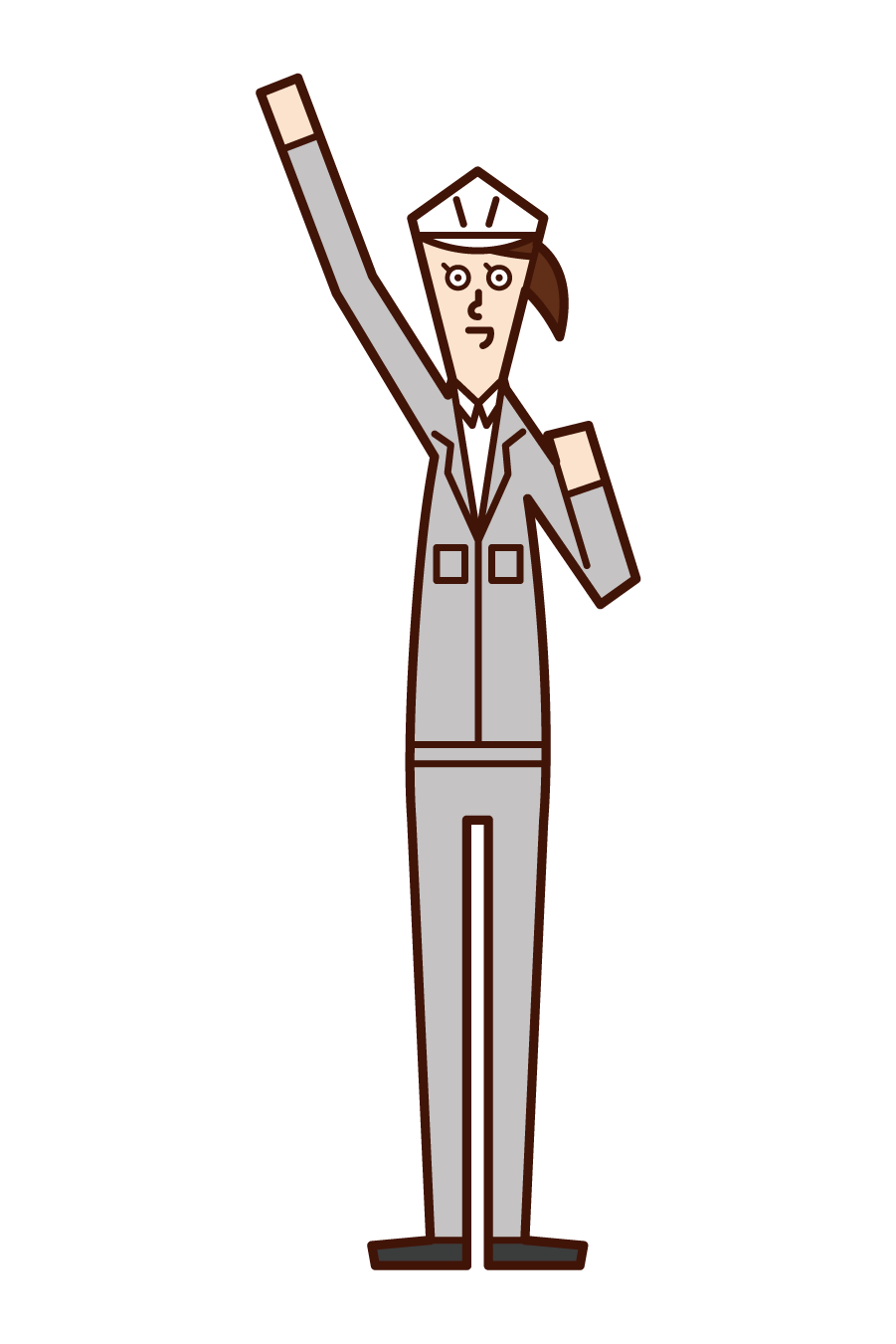 Illustration of Aei-O (woman), a field supervisor who raises her fist high