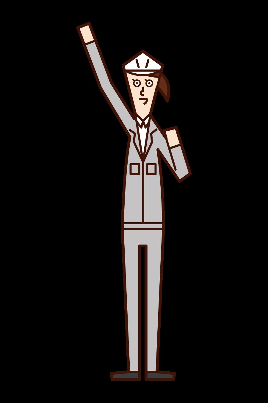 拳を高く上げる人・エイエイオー(女性)のイラスト