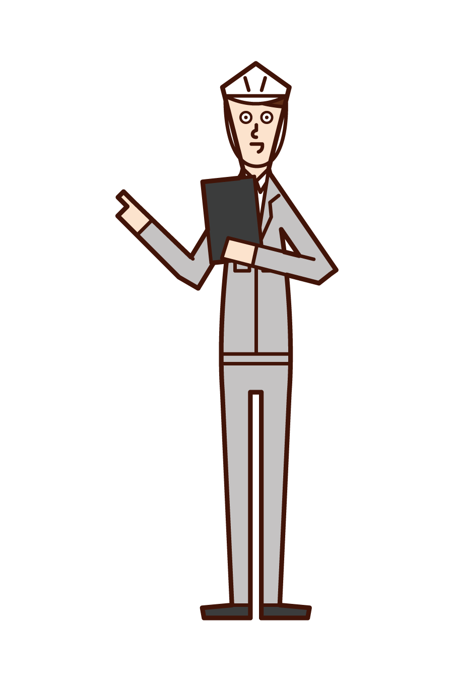 Illustration of a person (man) who confirms safety and calls