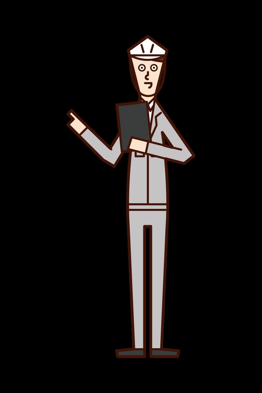 安全確認・点呼をする人(男性)のイラスト