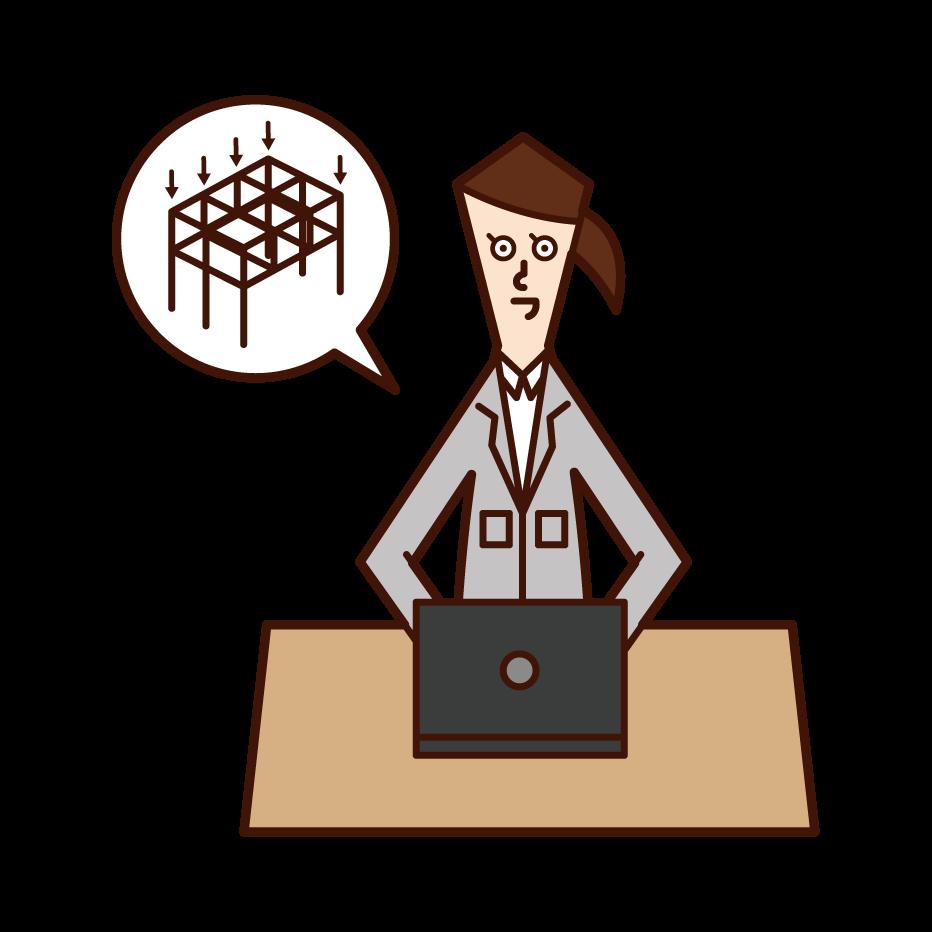 構造設計・構造計算をする人(女性)のイラスト