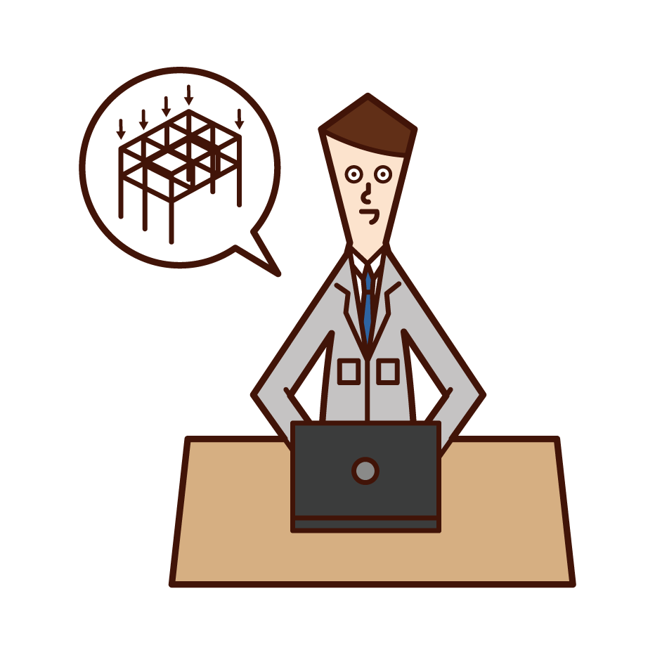 Illustration of a person (man) who designs and calculates structure