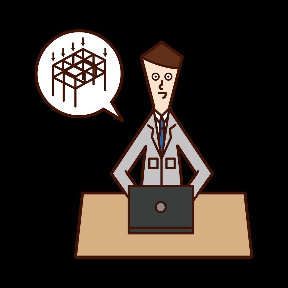 構造設計・構造計算をする人(男性)のイラスト