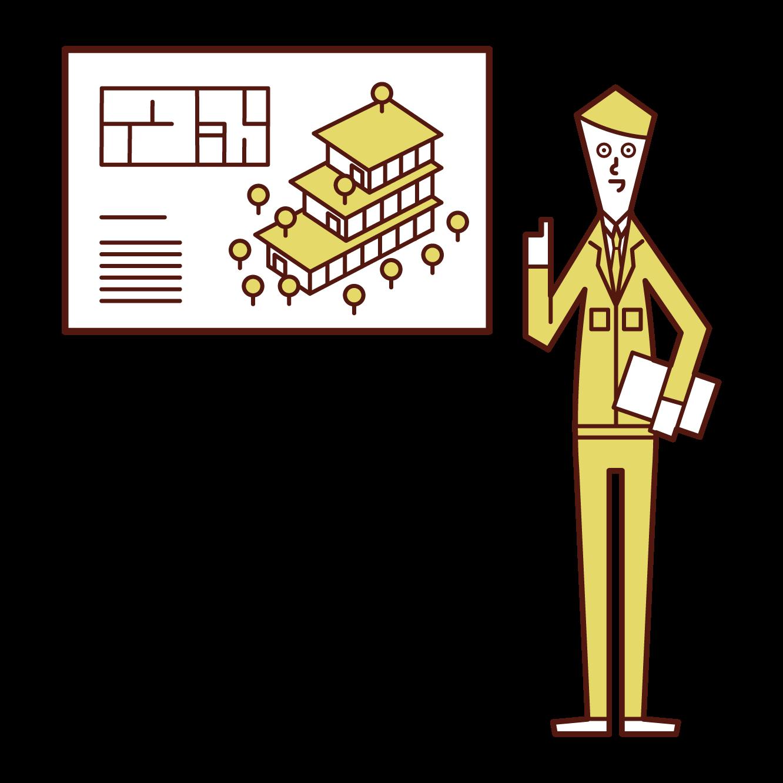 プレゼンテーションをする設計者・現場監督(男性)のイラスト