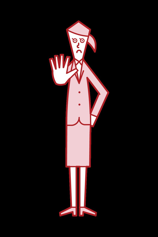 立ち入り禁止(女性)のイラスト