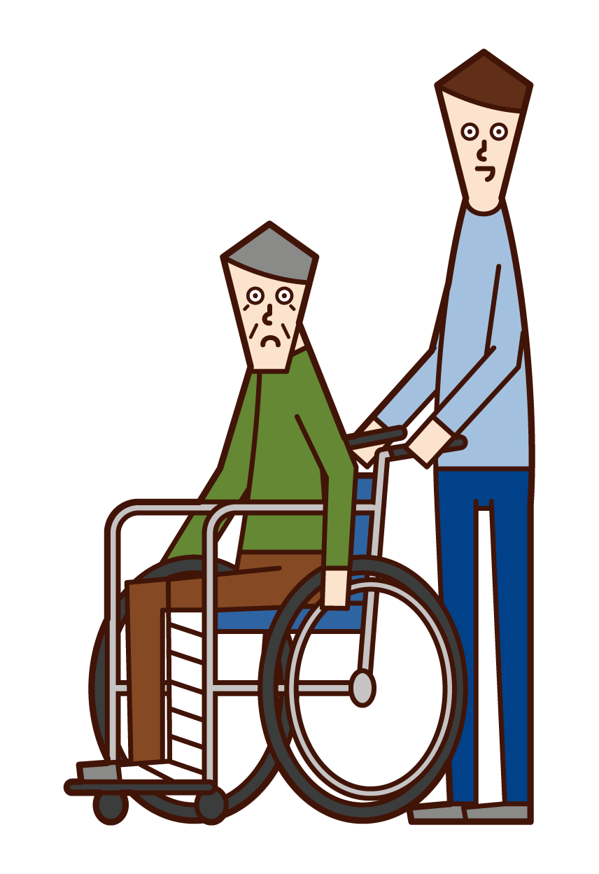 Illustration of an injured person (old man) in a wheelchair and a person pushing a wheelchair (male)