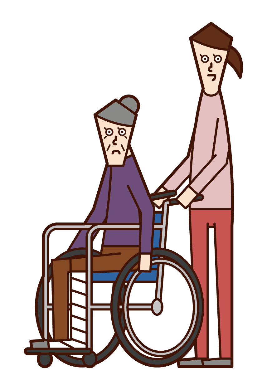 Illustration of an injured person (grandmother) in a wheelchair and a person pushing a wheelchair (woman)