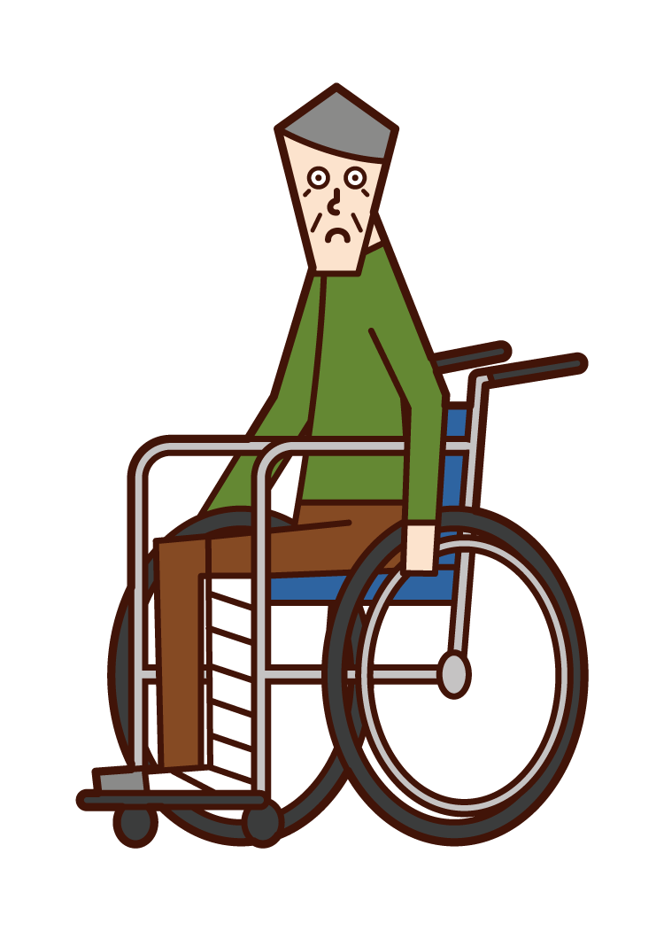 Illustration of a person (old man) who fractures his leg and rides in a wheelchair