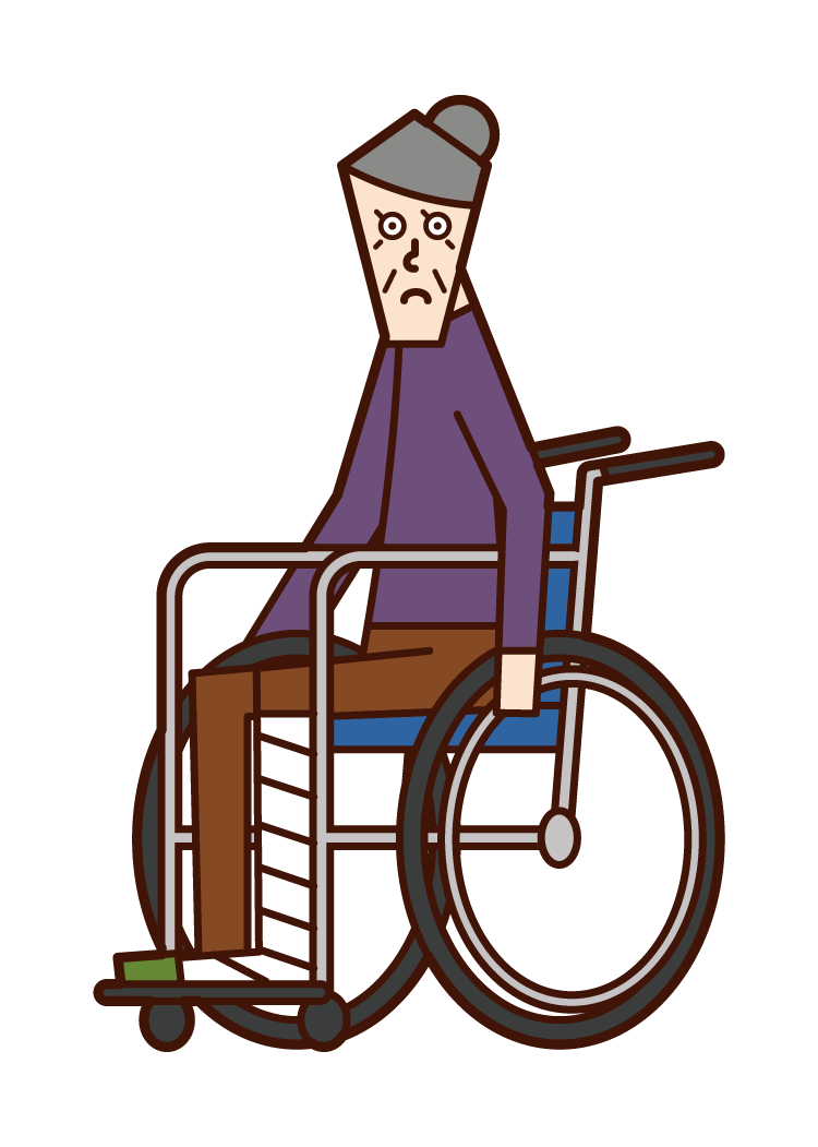 Illustration of an old woman in a wheelchair with a broken leg