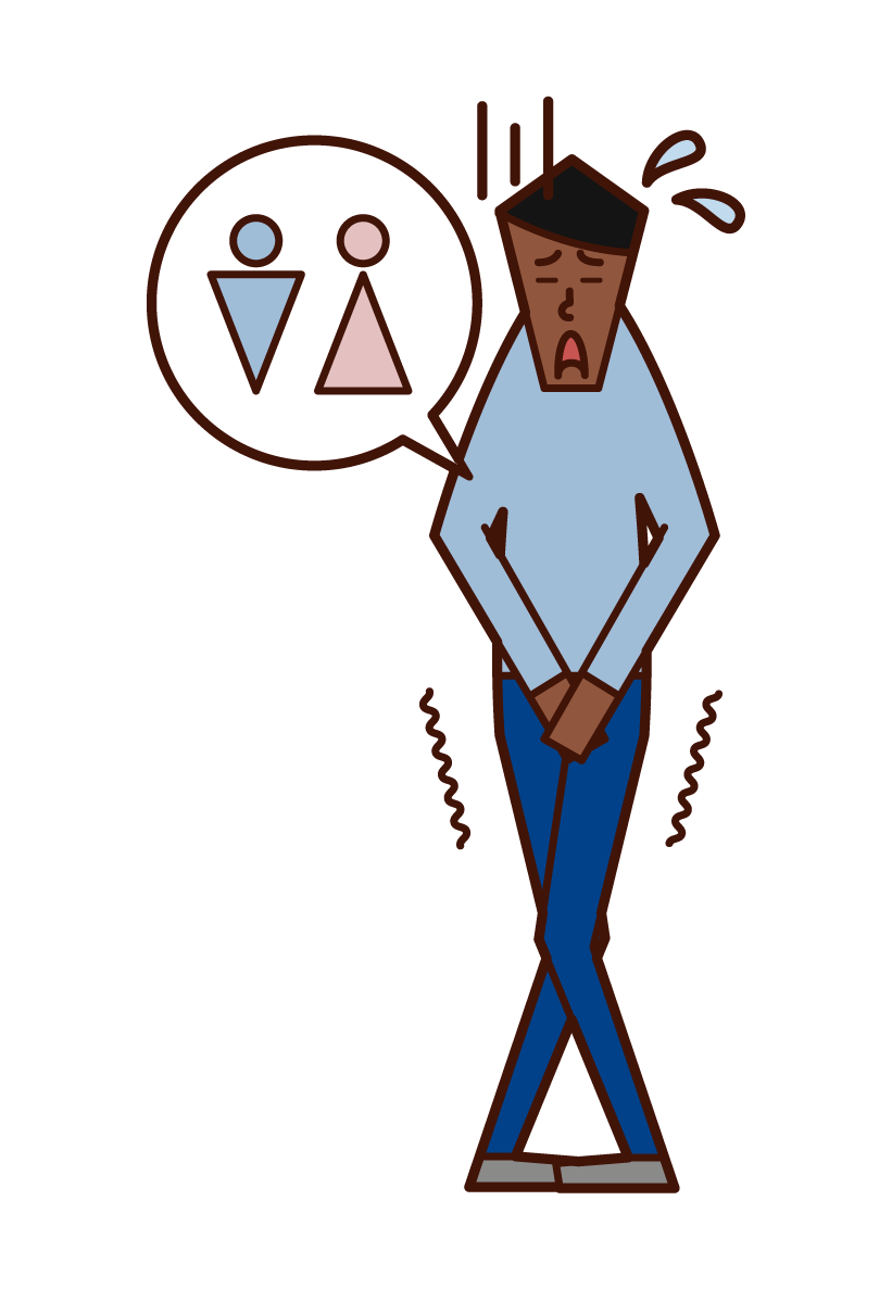 Illustration of a man who feels urine