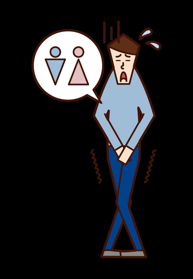 尿意を感じる人(男性)のイラスト