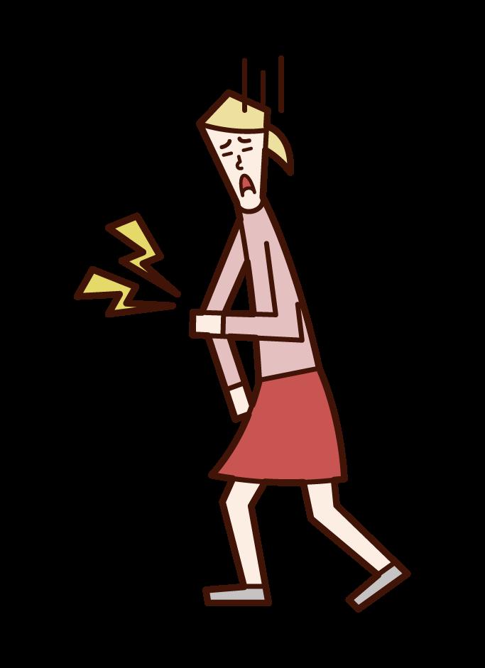 肘の痛み・上腕骨顆上骨折(女子)のイラスト